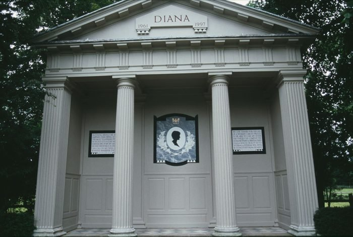 The memorial on the island in a lake on the Althorp estate, where Diana, Princess of Wales (1961-1997), was laid to rest