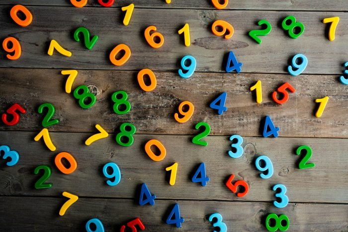 Colorful numbers on wooden table