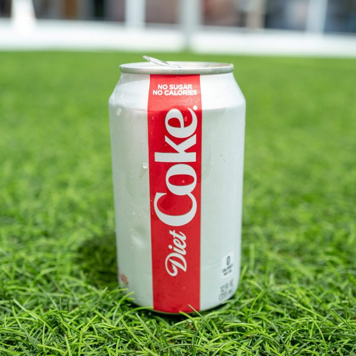 Diet Coke can on grass