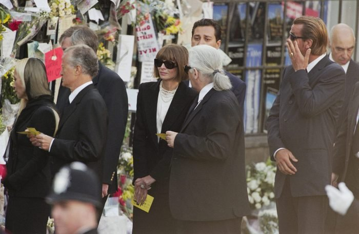 British-American journalist and editor Anna Wintour and German fashion designer Karl Lagerfeld (1933-2019) among the mourners attending the funeral service for Diana, Princess of Wales