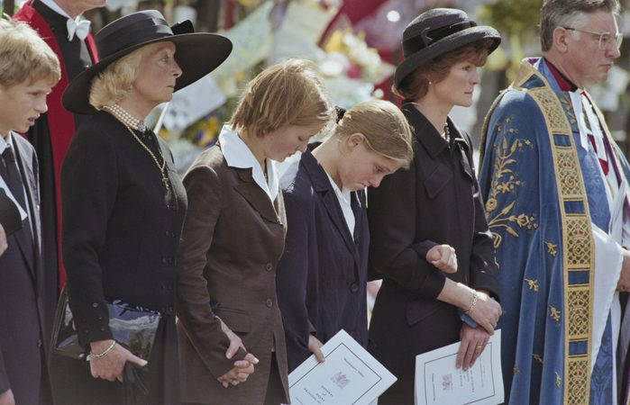 Frances Shand Kydd (1936-2004), mother of Diana, Princess of Wales (1961-1997), Eleanor Fellowes, Laura Fellowes, and Diana's sister Lady Sarah McCorquodale attending the Princess's funeral service