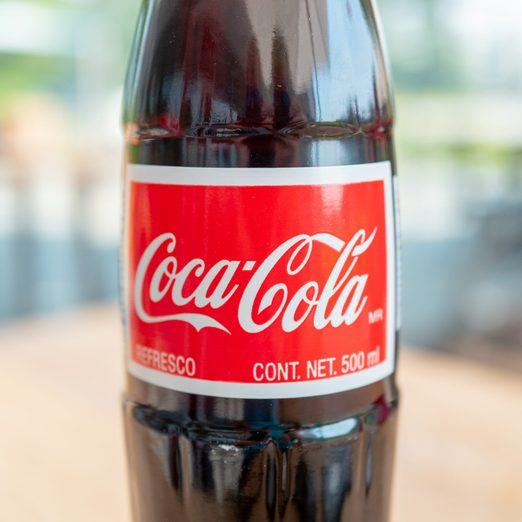 Close-up of glass bottle of Coca Cola beverage, aka Mexican Coke, San Ramon, California, August 19, 2020.