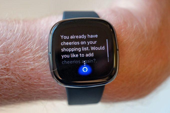Amazon alexa interaction on a Fitbit Sense smartwatch