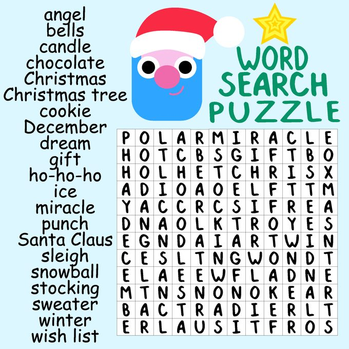 Christmas Word Search Puzzle With Santa Claus