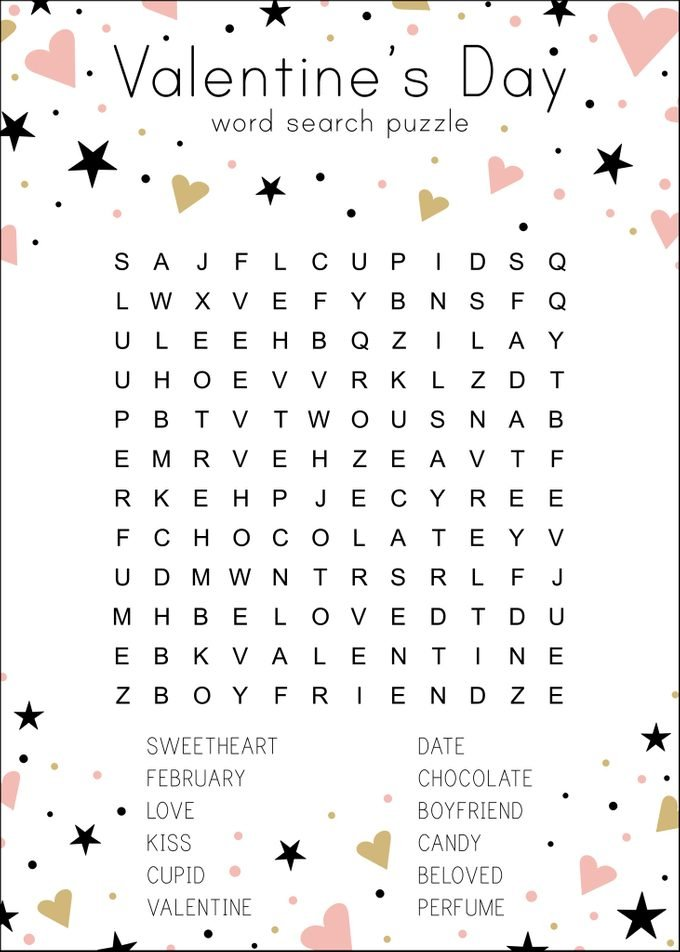 valentine's day holiday word search puzzle