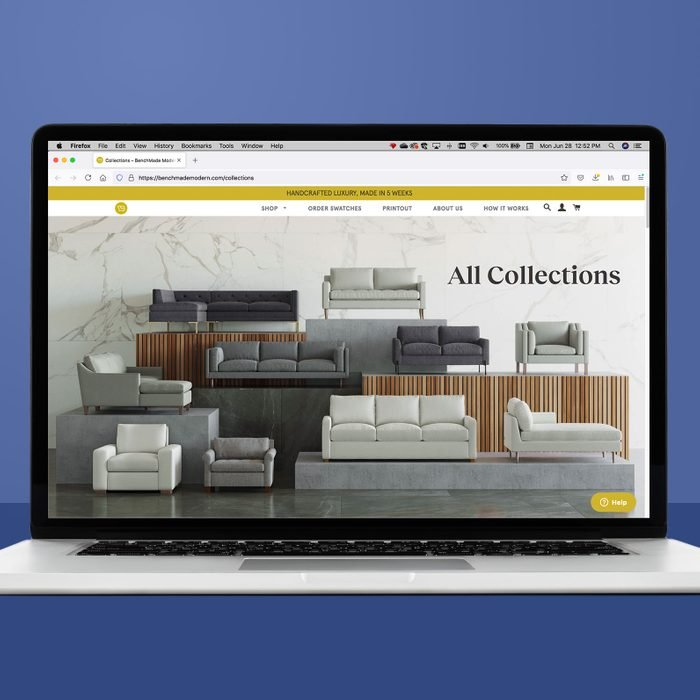 Benchmademodern.com on a laptop