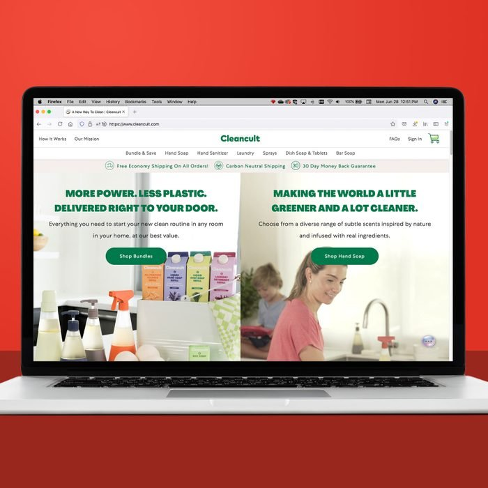 Cleancult.com on a laptop
