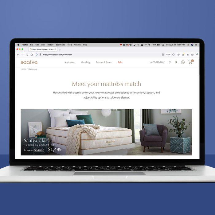 saatva.com on a laptop