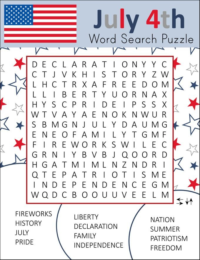 july 4th word search puzzle