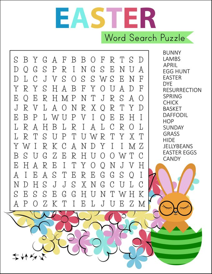 Easter word search puzzle with cute cartoon bunny.