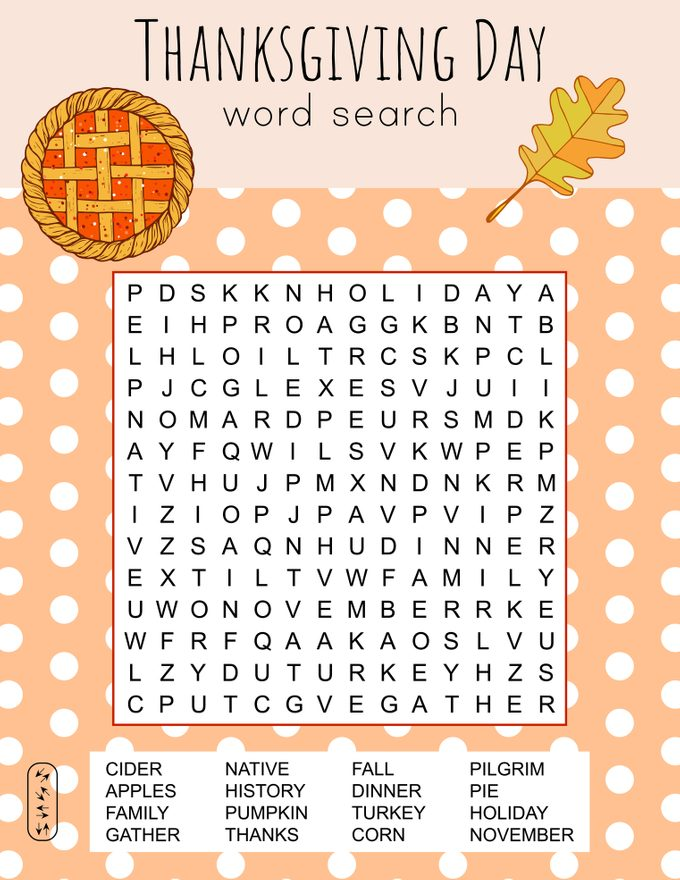Thanksgiving Day Word Search Puzzle.