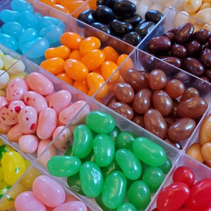 Jelly Belly jellybeans sorted by flavor