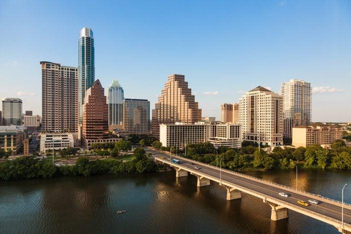 Texas skyline during golden hour