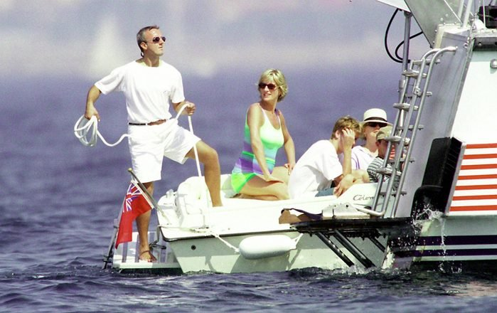 Diana, Princess of Wales and son HRH Prince William are seen holidaying with Dodi Al Fayed (not pictured) in St Tropez in the summer of 1997