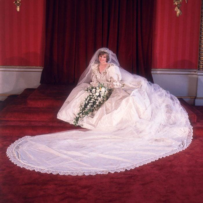 Formal portrait of Lady Diana Spencer in her wedding dress designed by David and Elizabeth Emanuel.