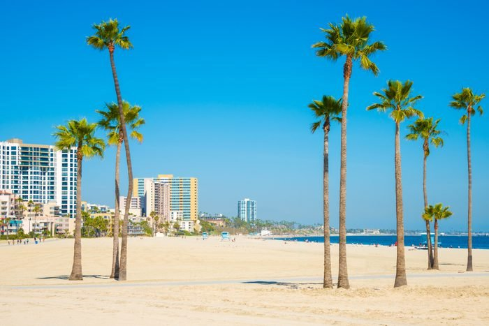 Long Beach California skyline, beach, palm trees