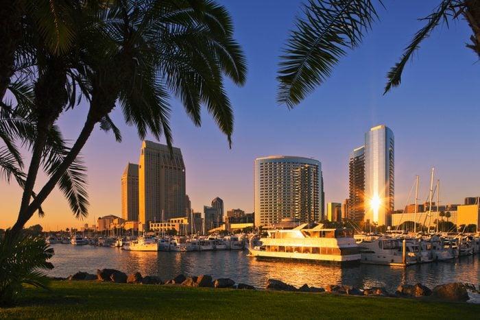 San Diego City skyline from Embarcadero Marina Park.