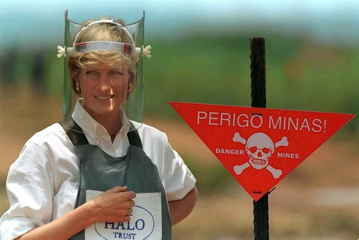 Diana, Princess Of Wales, Visits A Minefield Being Cleared By The Charity Halo In Huambo, Angola, Wearing Protective Body Armour And A Visor.