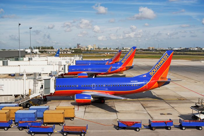 Southwest Airlines Airplanes Docked at Palm Beach Airport