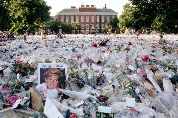 A multi-colored sea of floral tributes to Diana, Princess of Wales, lie outside the gates of her London home. The flowers began to arrive soon after news of Diana's death, in a Paris car crash, reached Britain.