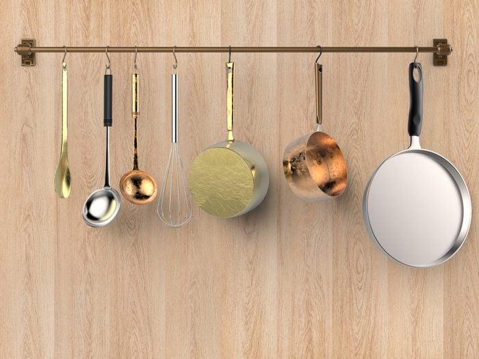 kitchen rack hanging with kitchen utensils