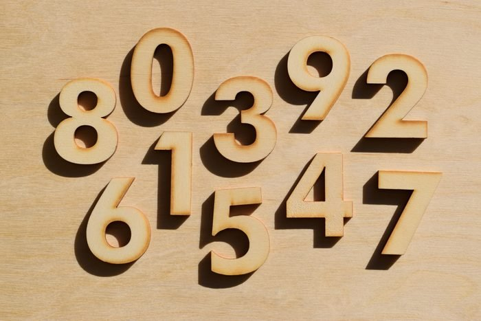 Wooden numbers on wood background