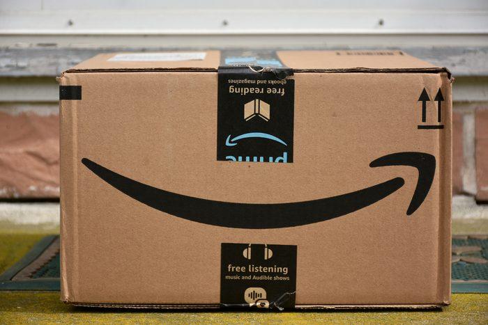 Amazon box on a front doorstep