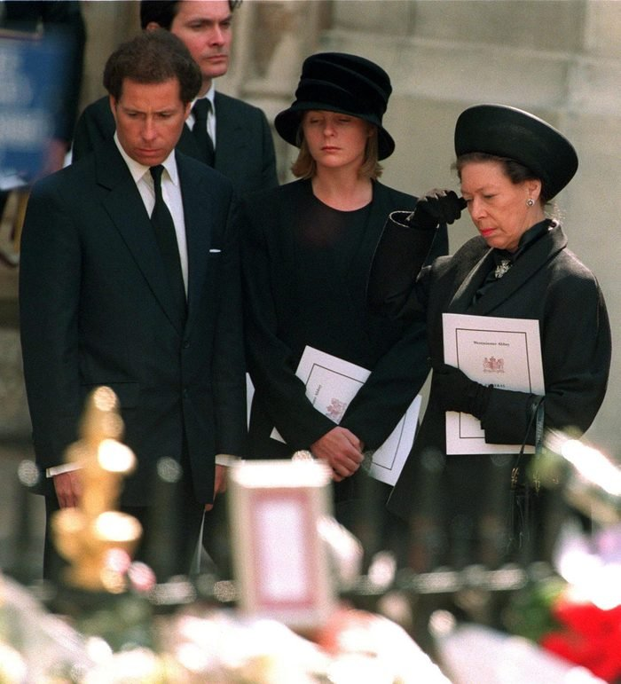 Princess Margaret with her son Lord Linley and his wife Lady Serena Linley leaving Westminster Abbey after the funeral service for Diana