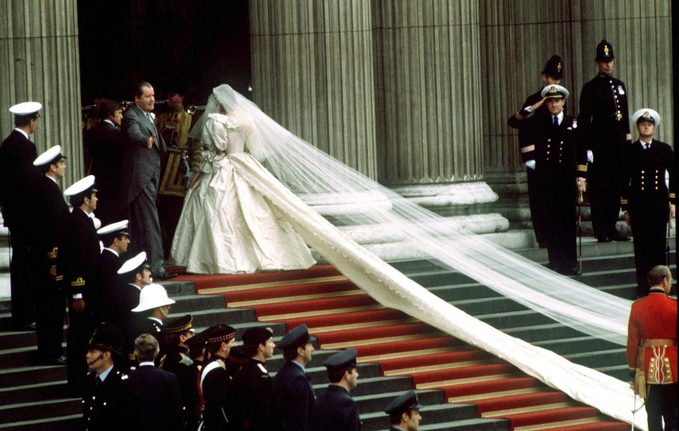 view of Lady Diana Spencer wedding dress train and veil as she arrives at St Paul's Cathedral on the day of her wedding to the Prince of Wales, 29th July 1981.