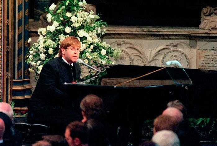 Sir Elton John sings 'Candle in the Wind' at the funeral if Diana, Princess of Wales at Westminster Abbey