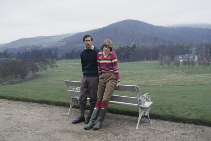Prince Charles, Prince of Wales with his fiance Lady Diana Spencer during a photocall before their wedding while staying at Craigowan Lodge on the Balmoral Estate in Scotland, 6th May 1981.