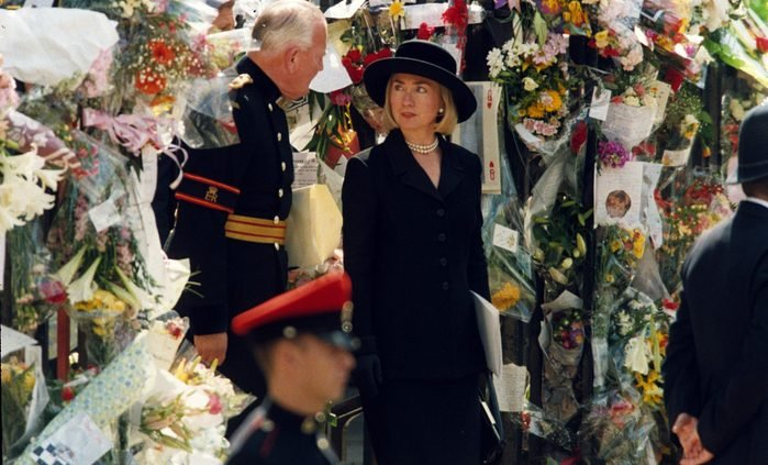 Hillary Clinton at Princess Diana's funeral at Westminster Abbey