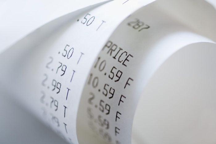 Closeup of sales receipt
