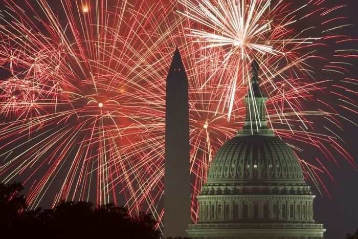 Fireworks explode over the National Mall as the US Capitol and National Monument are seen on July 4, 2017, in Washington, DC.