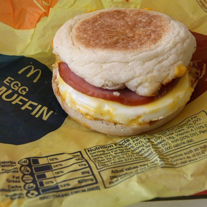 mcdonalds egg mcmuffin breakfast sandwich on wrapper