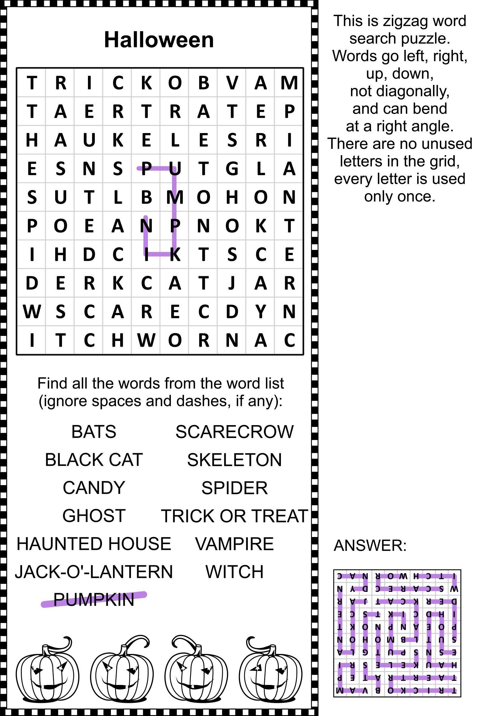 halloween zig zag word search puzzle