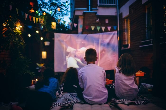 Movie Night In Backyard with projector set up