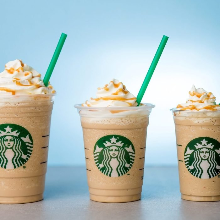 three sizes of starbucks Frappuccinos