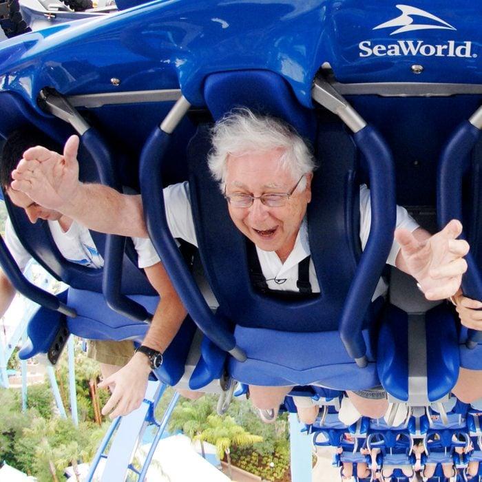Paul Ruben riding a roller coaster at Seaworld Orlando