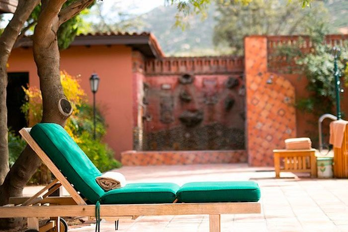 lounge chair on a patio at Rancho La Puerta, Mexico