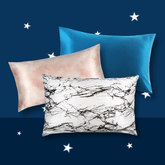 Three Silk Pillowcases in front of story background