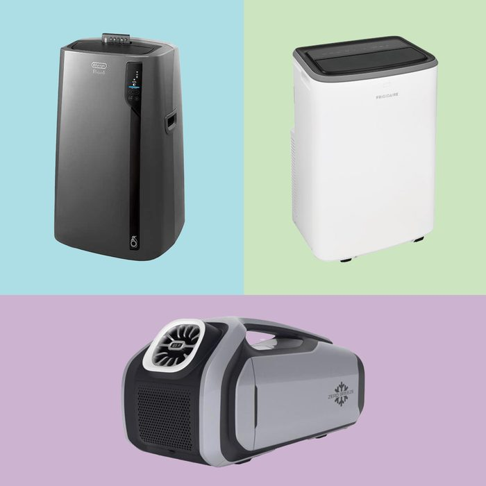 3 Portable Air Conditioners on colored backgrounds