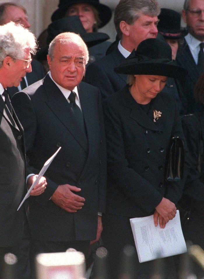 Mohammed Al Fayed and his wife Heini Wathen leaving Westminster Abbey after the funeral service for Diana, Princess of Wales
