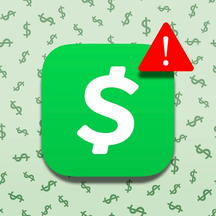 Cash App logo with alert indicator on green background with dollar signs