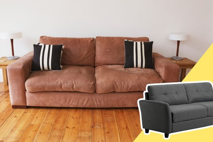 old Couch with inset of a new couch to buy