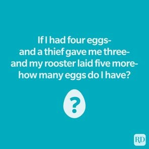 Riddle above egg illustration with a question mark