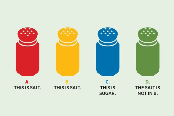 """Four salt shakers of various colors, labeled """"This is salt,"""" """"This is salt,"""" """"This is sugar,"""" and """"The salt is not in B"""""""