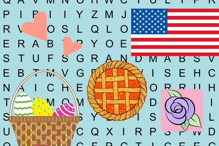 word search puzzle background with icons to represent holidays like valentines day, easter, thanksgiving, july 4th, and mother's day
