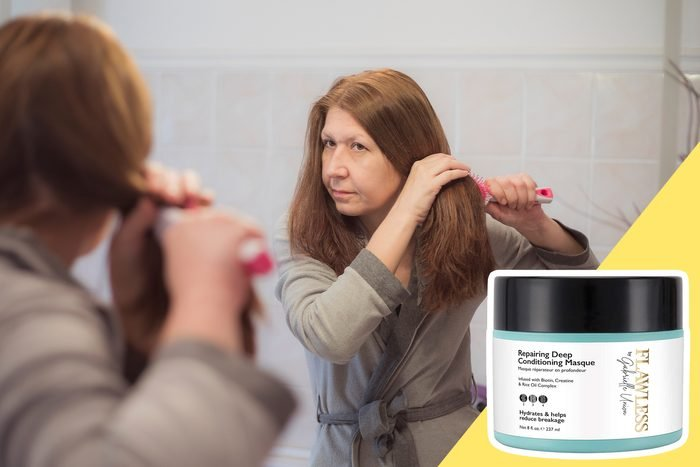 woman examining her hair in the mirror with inset of hair product
