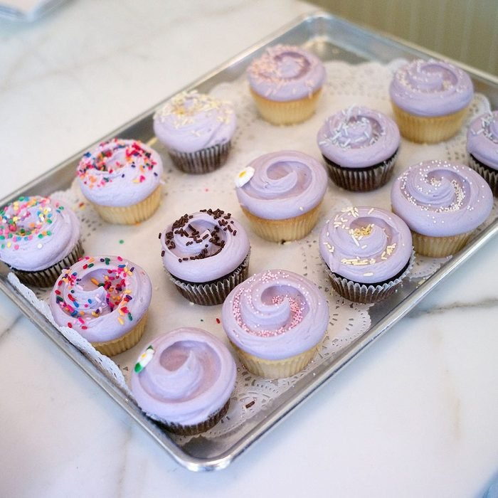 gourmet cupcakes on a tray